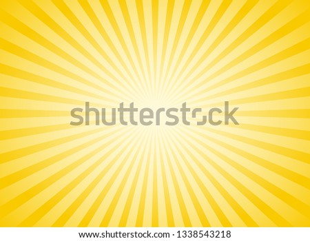 Sunlight abstract wide background. Yellow and white color burst horizontal background. Vector illustration. Sun beam ray sunburst pattern background. Retro bright backdrop. Sunny day. Сток-фото ©