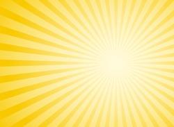 Sunlight abstract wide background. Yellow  color burst horizontal background. Vector illustration. Sun beam ray sunburst pattern background. Retro bright backdrop. Sunny day.