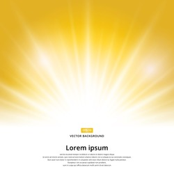 sunlight effect sparkle on yellow background with copy space. Abstract vector illustration