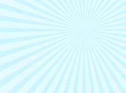 Sunlight rays background.  powder blue color burst background. Vector sky illustration. Sun beam ray sunburst wallpaper. Retro bright backdrop. Vintage poster or placard