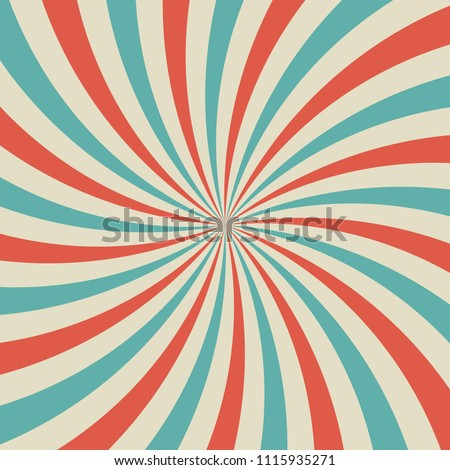 Sunlight retro faded background. blue and red color burst background. Vector circus illustration. Sun beam ray background. Old paper. vintage style.