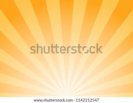 Sunlight wide abstract background. Bright orange color burst background. Vector illustration. Sun beam ray sunburst pattern background. Retro  backdrop. starburst wallpaper. Down, bottom burst center
