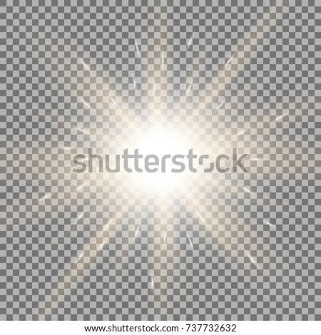 Sunlight with lens flare effect, shining star on transparent background, golden color