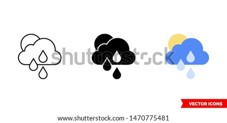 sunny and rain icon of 3 types