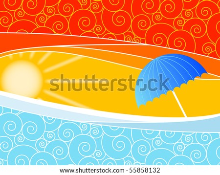 Sunny background with waves and an umbrella