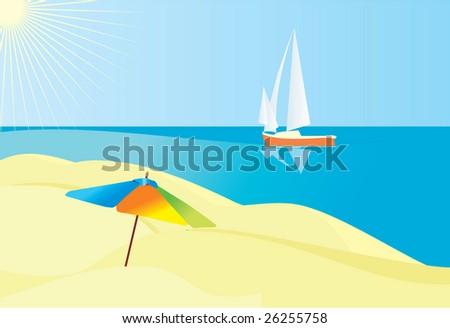 sunny beach cartoon. stock vector : sunny beach