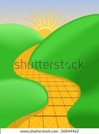 Yellow Brick Road Clip Art Sunny Brick Road - Vec...