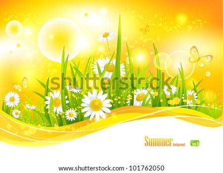 Sunny bright background with sunlight and flowers for your design