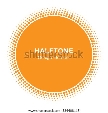 Sunny Circle Halftone Vector Logo Design Element. Sun halftone icon emblem for health, treatment, medical, cosmetic, pharm, honey.