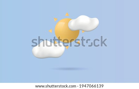 Sunny day concept. Sun with clouds isolated on blue background. Realistic icon for social media, web design, weather forecast. 3d Sun with clouds. Vector illustration