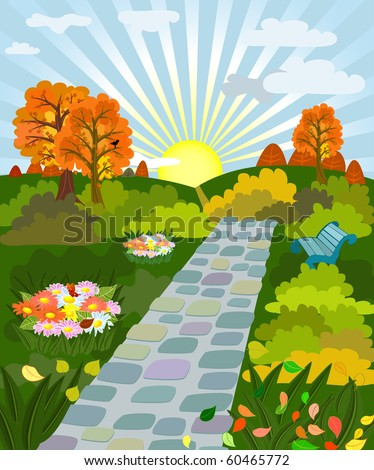 sunny day in autumn park