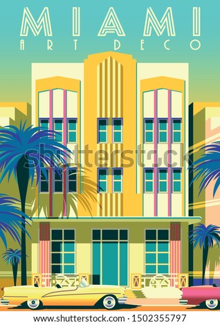 Sunny day in Miami, USA. Handmade drawing vector illustration. Art deco style poster.