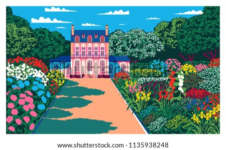 Sunny day in the garden near the country house. Handmade drawing vector. Vintage pop art style.