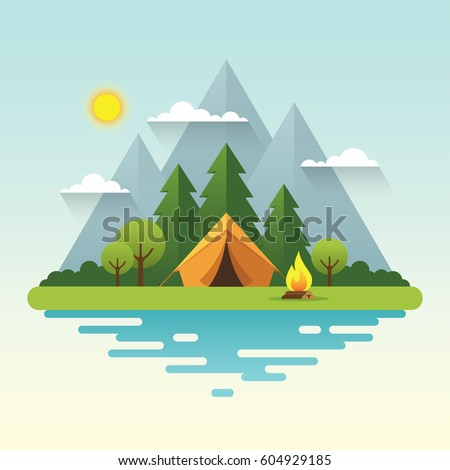 Sunny day landscape illustration in flat style with tent, campfire, mountains, forest and water. Background for summer camp, nature tourism, camping or hiking design concept.