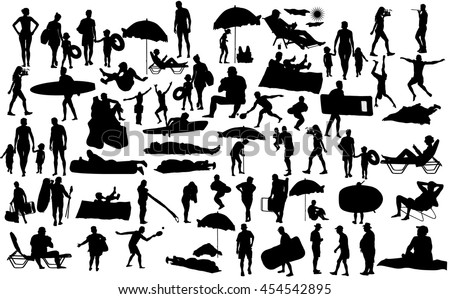 Sunny day on the beach vector silhouette over 50 people characters(boy,girl,man,woman,swimmer,parents, tourists, mother,father,) Water sports. Happy seniors active life. Skin care protection concept. #454542895