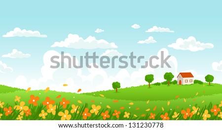 sunny day seamless landscape