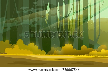 sunny forest background vector