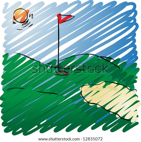 Sunny golf course rough sketchy illustration, hand-drawn look0
