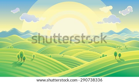 sunny hilly landscape vector