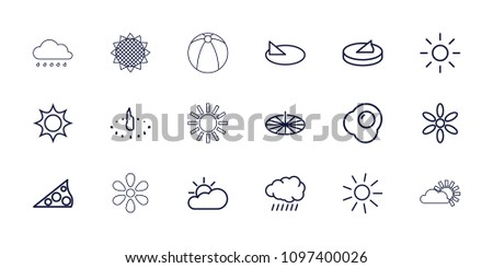 Sunny icon. collection of 18 sunny outline icons such as sun, egg, sun cloud, sundial, sunflower. editable sunny icons for web and mobile.