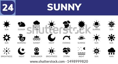 sunny icon set 24 filled sunny