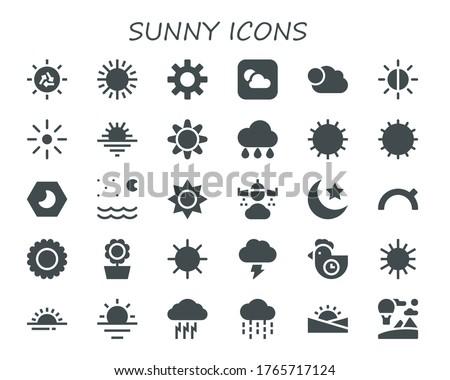 sunny icon set 30 filled sunny