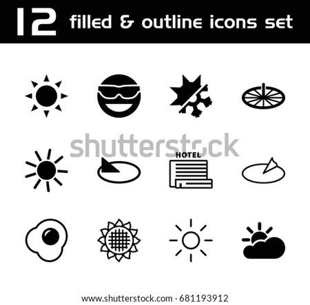 sunny icon set of 12 sunny
