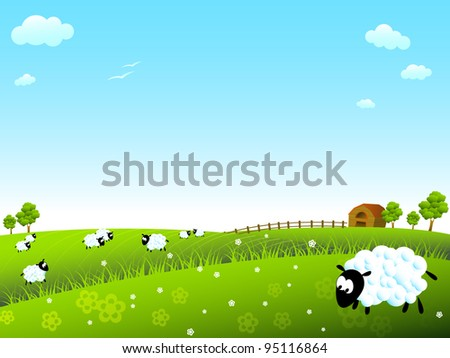Sunny meadow with sheep