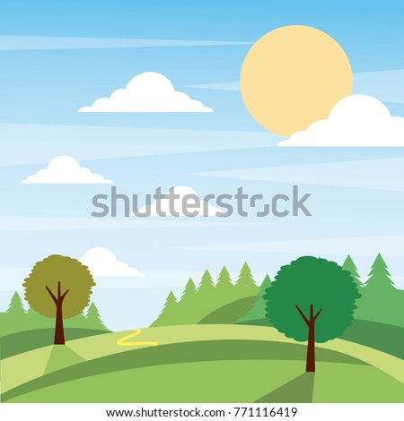 sunny nature landscape with