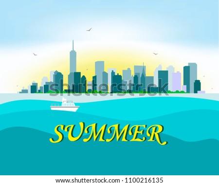 sunny new york on the horizon