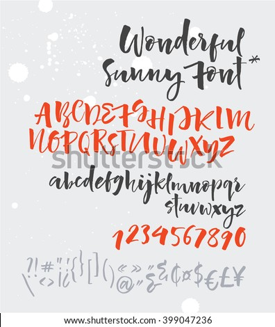 Sunny Script. Vector alphabet. Hand drawn letters, numbers, signs. Letters of the alphabet written with a brush. Summer beach party poster