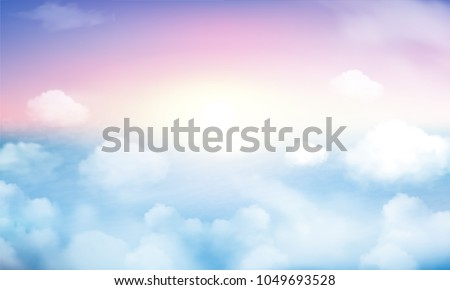 Sunny sky pastel background, beautiful cloudscape, on the heaven, view over white fluffy clouds, freedom concept