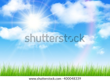 Sunny sky with vector clouds, natural vector background.