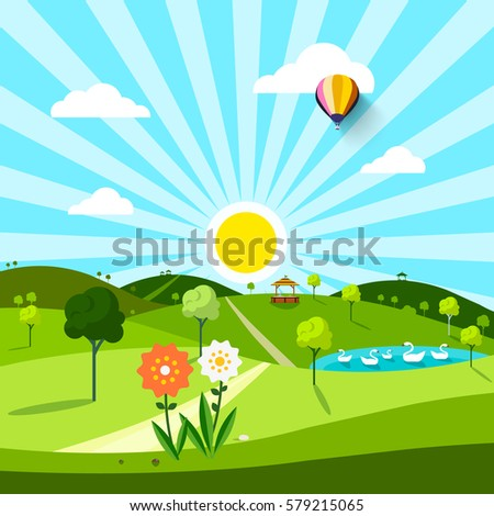 sunny spring day with field and