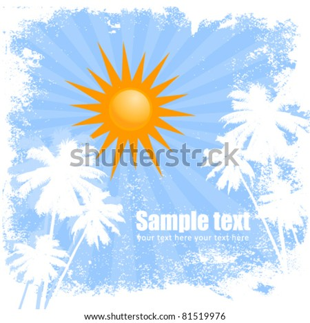 Sunny summer blue card with palm trees and radial background