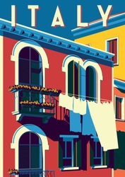 Sunny summer day in Italy. Handmade drawing vector illustration. Pop art retro poster. Can be used for posters, banners, postcards, books & etc.