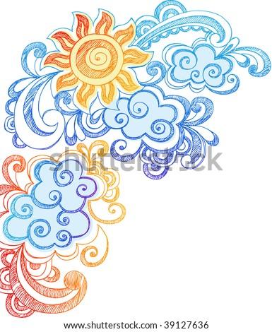 sunny summer sky hand drawn