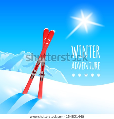 Sunny Winter Landscape With Skies, Vector Illustration, Eps10.