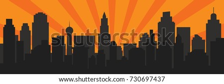 Sunrise and modern black silhouette city in Pop art style. Comics book design background. Vector illustration retro style