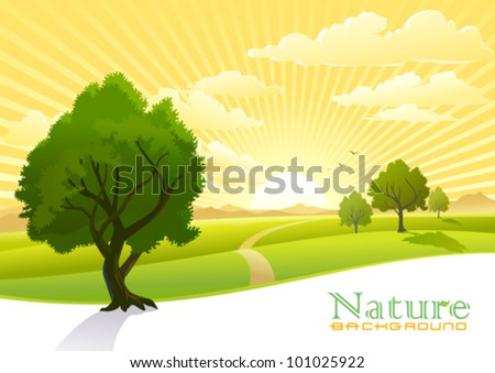 sunrise and trees with graphic