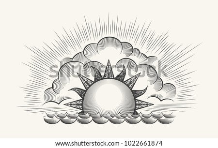 sunrise engraving illustration. ...