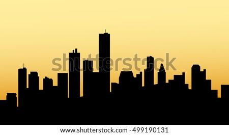 sunrise houston city skyline