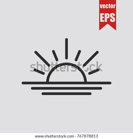 sunrise icon in trendy isolated