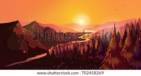 sunrise in beautiful mountains