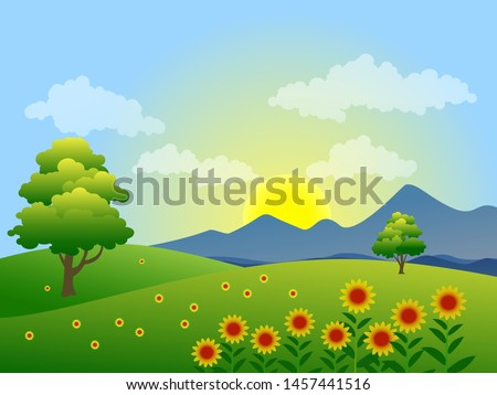 sunrise in countryside green field with sunflowers #1457441516