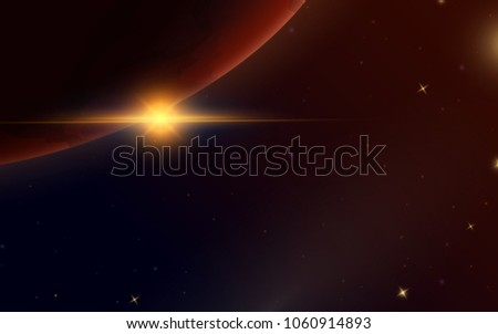 sunrise in space red planet