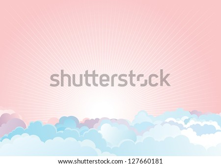Sunrise in the cloudy sky. Vector color horizontal background of cloudy sky