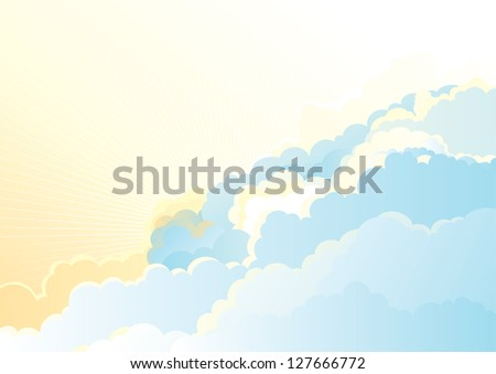 Sunrise in the cloudy sky/ Vector color horizontal background of cloudy sky