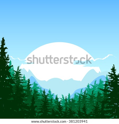 sunrise in the mountain vector