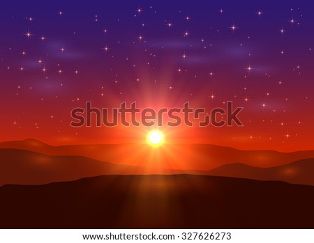 Sunrise in the mountains, beautiful landscape with sun and stars, illustration.